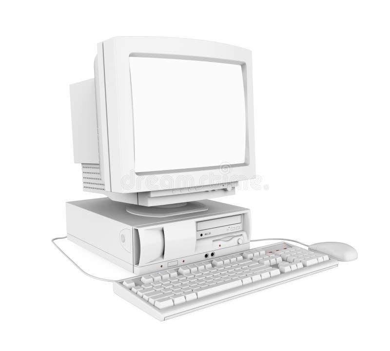 Gammal skrivbords- dator med en tom vit ett isolerade skärmbildskärm, tangentbord och mus stock illustrationer