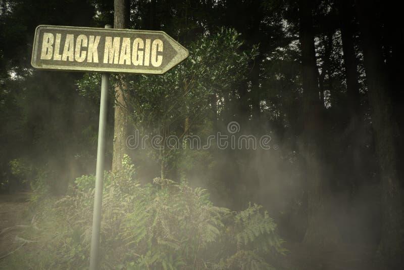 Gammal skylt med svart magi för text nära den illavarslande skogen fotografering för bildbyråer