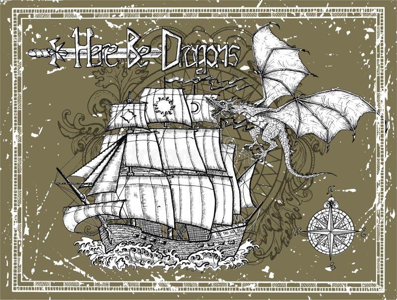 Gammal skyttel, drake, kompass och titel i ram på grungetextur stock illustrationer