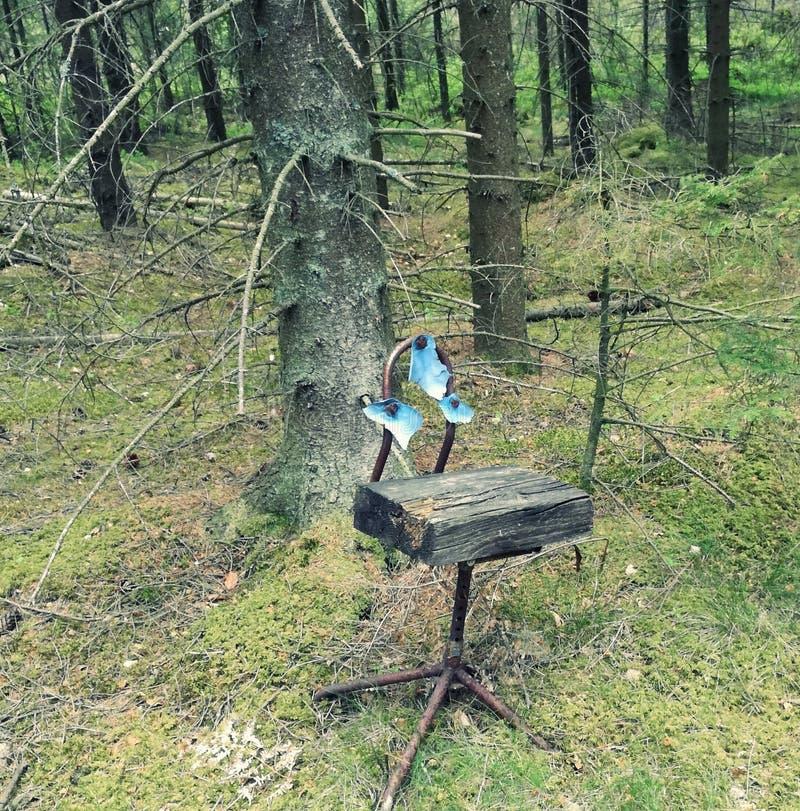 Gammal slagen stol i skogen fotografering för bildbyråer