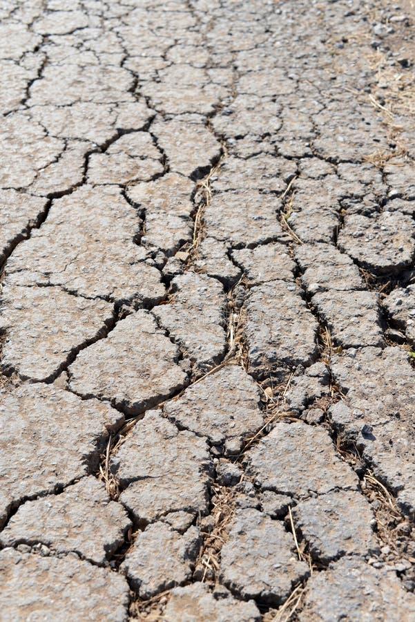 Gammal sliten och sprucken asfalt med sprickor royaltyfria bilder