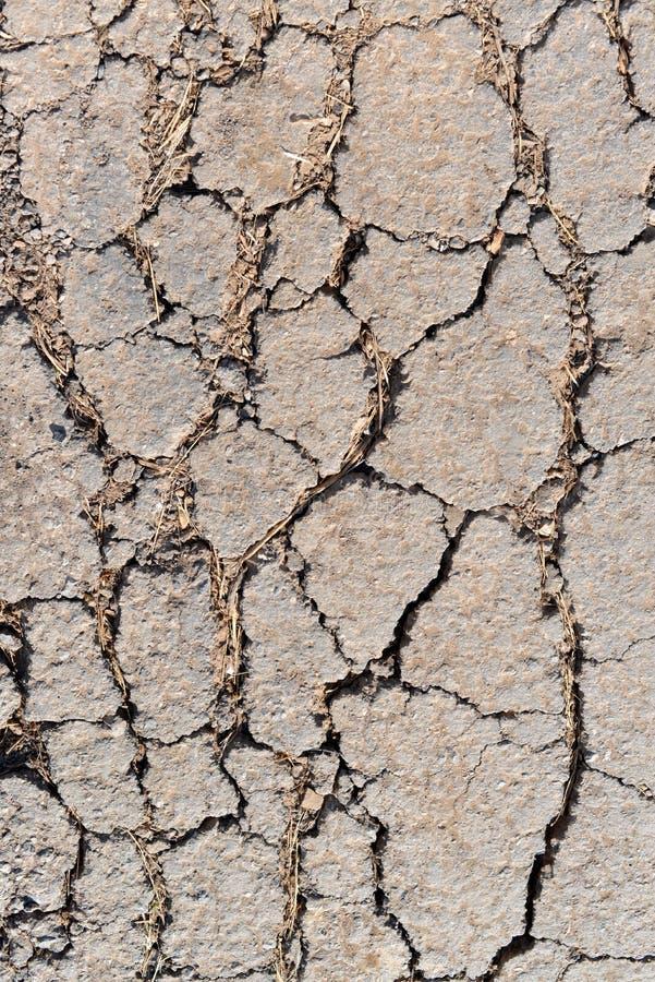 Gammal sliten och sprucken asfalt med sprickor arkivbild