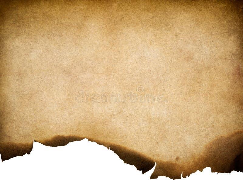 Gammal sliten pappers- textur för tappning med bränd kantbakgrund royaltyfri fotografi