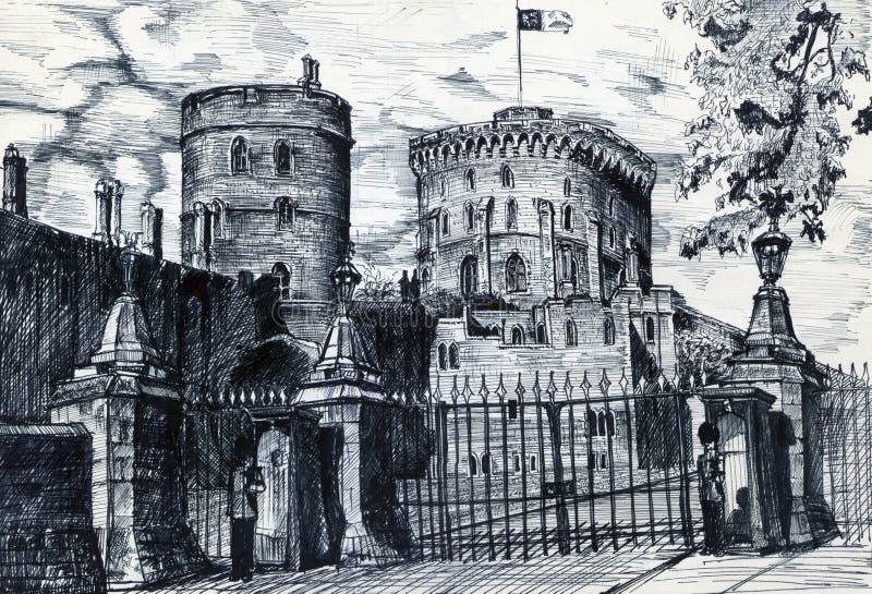 Gammal slott i England stock illustrationer