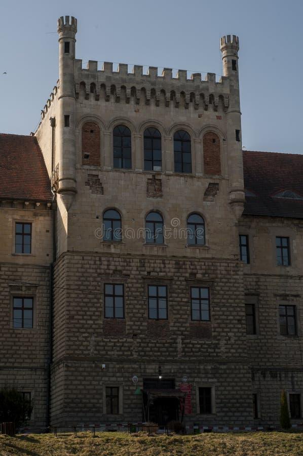 Gammal slott i liten polsk stad arkivbild