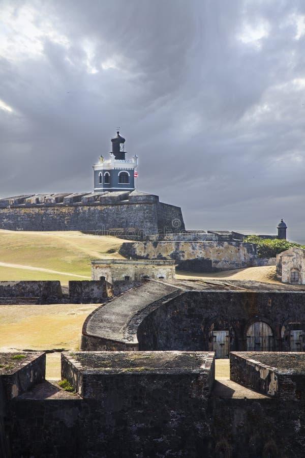 Gammal slott i San Juan Puerto Rico arkivbilder