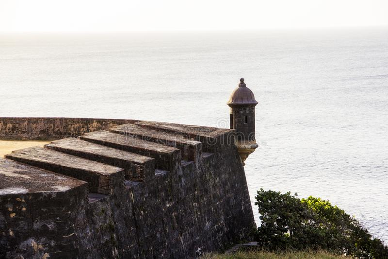 Gammal slott i San Juan Puerto Rico arkivfoton