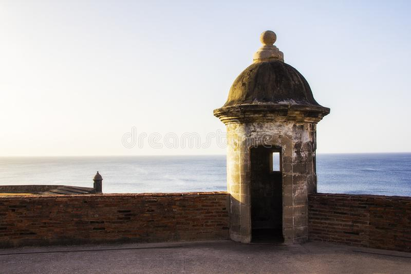 Gammal slott i San Juan Puerto Rico royaltyfri bild