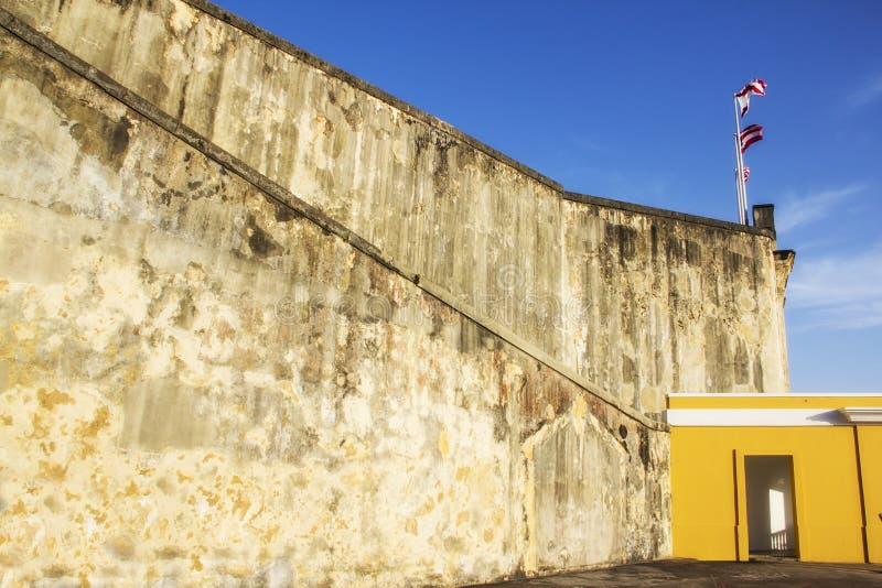 Gammal slott i San Juan Puerto Rico royaltyfri foto