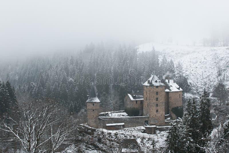 Gammal slott i snö och dimma royaltyfri foto