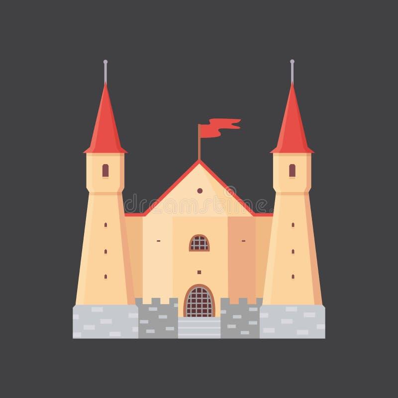Gammal slott, illustrationer för Europa slottvektor Medeltida historisk byggnad royaltyfri illustrationer