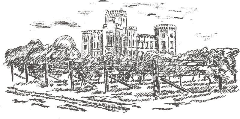 gammal slottteckningshand vektor illustrationer