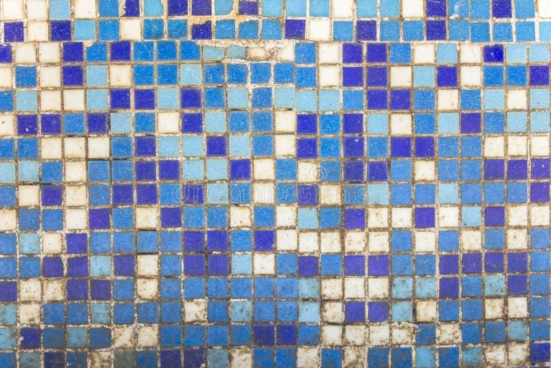 Gammal smutsig vägg av små blåa och vita keramiska tegelplattor Textur för grov yttersida royaltyfria bilder