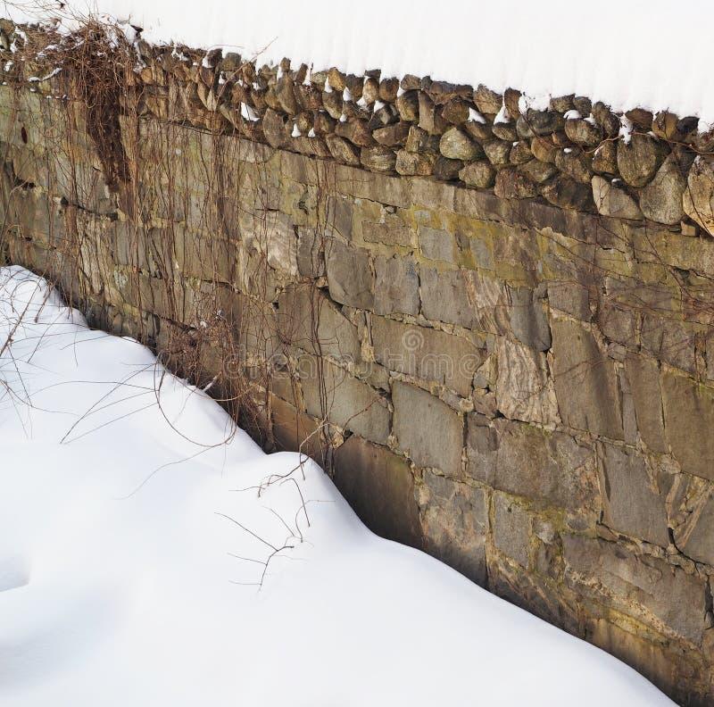 Gammal snö för stenvägg arkivfoton