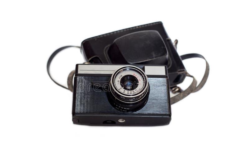Gammal sovjetisk kamera som isoleras på en vit bakgrund arkivfoton