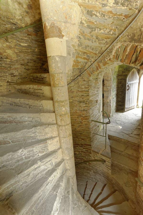 gammal spiral trappuppg?ng f?r slott Cardiff stend?rr?ppning arkivbilder