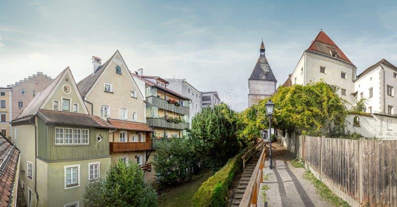 Gammal stad av Braunau am Inn, Upper Austria fotografering för bildbyråer