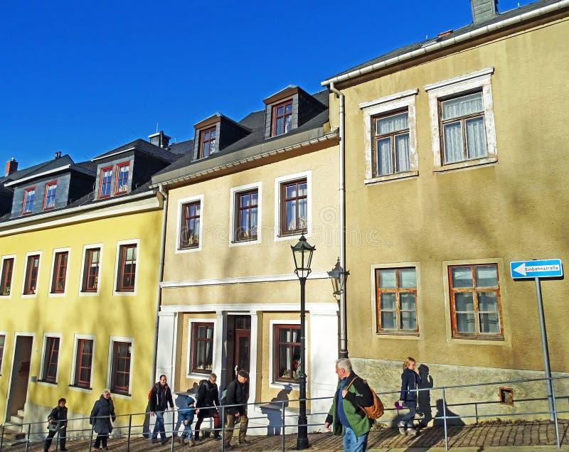Gammal stad av den Annaberg-Buchholz Tyskland arkivfoton