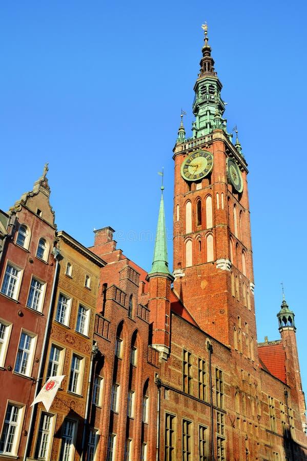 Gammal stad av den Gdansk staden i Polen, stadshus arkivbilder