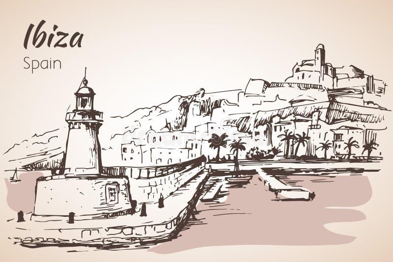 Gammal stad av den Ibiza staden, Balearic Island, Spanien, Europa royaltyfri illustrationer