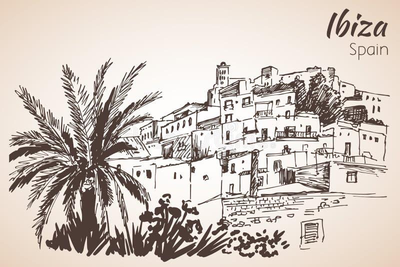 Gammal stad av den Ibiza staden, Balearic Island, Spanien, Europa Ibiza c vektor illustrationer