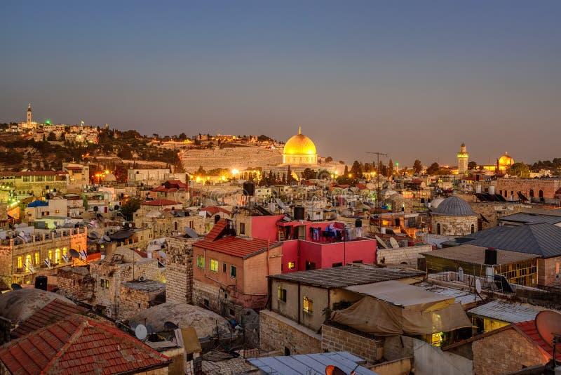 Gammal stad av den Jerusalem och tempelmonteringen, Israel fotografering för bildbyråer