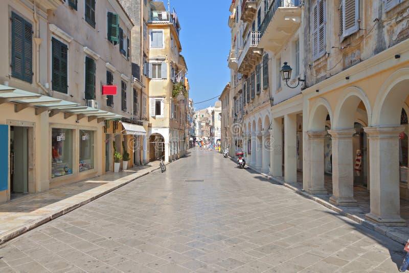 Gammal stad av den Korfu ön i Grekland fotografering för bildbyråer