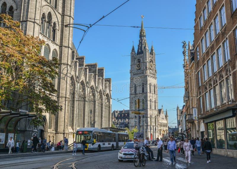 Gammal stad av Ghent, Belgien royaltyfri foto