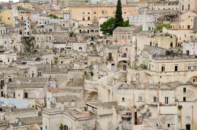 Gammal stad av Matera i sydliga Italien royaltyfri fotografi