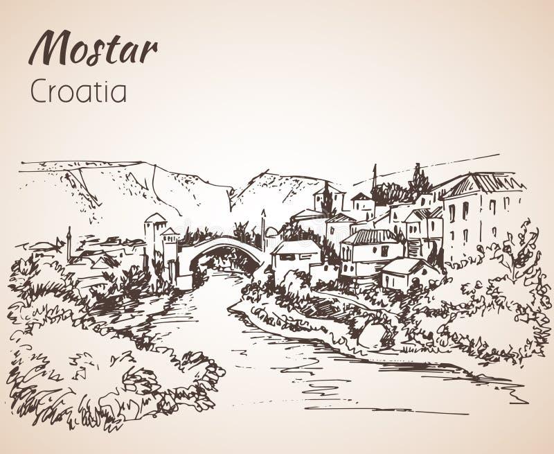 Gammal stad av Mostar, Kroatien croatia skissa royaltyfri illustrationer