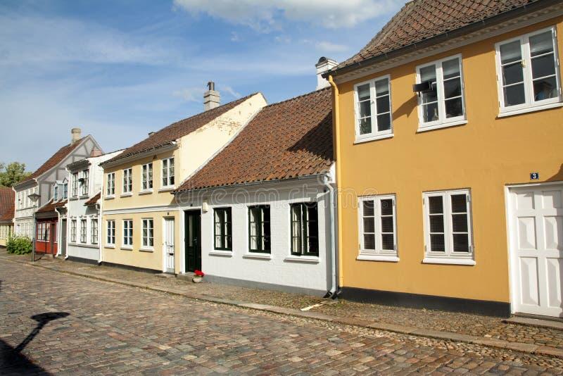 Gammal stad av Odense, Danmark royaltyfria bilder