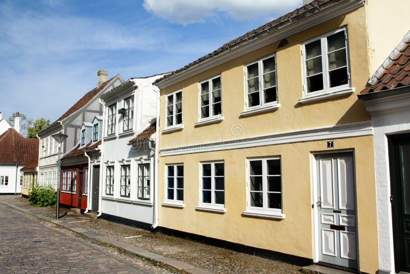 Gammal stad av Odense, Danmark arkivfoto