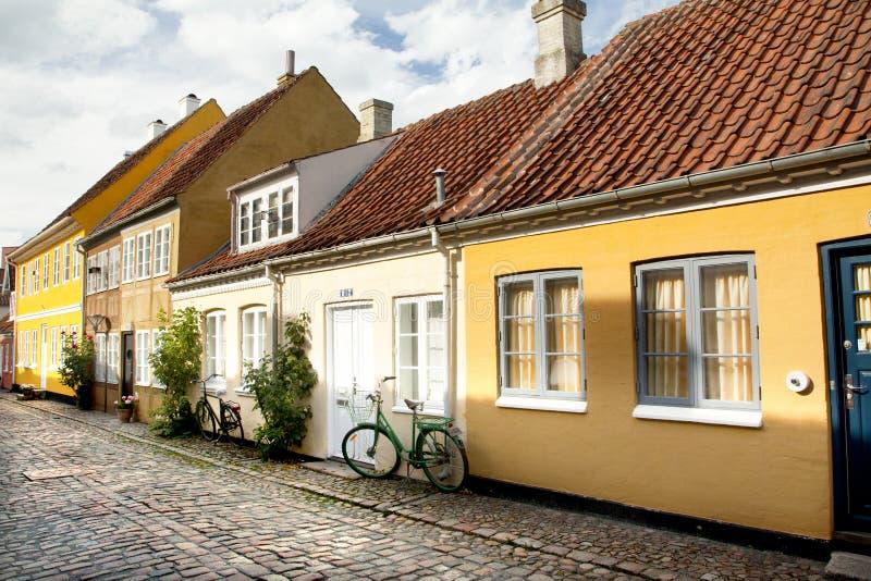 Gammal stad av Odense, Danmark arkivbilder