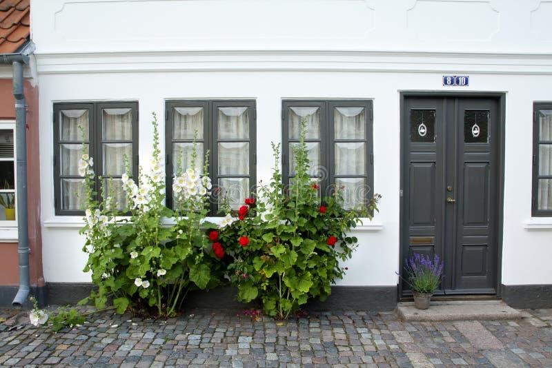 Gammal stad av Odense, Danmark fotografering för bildbyråer