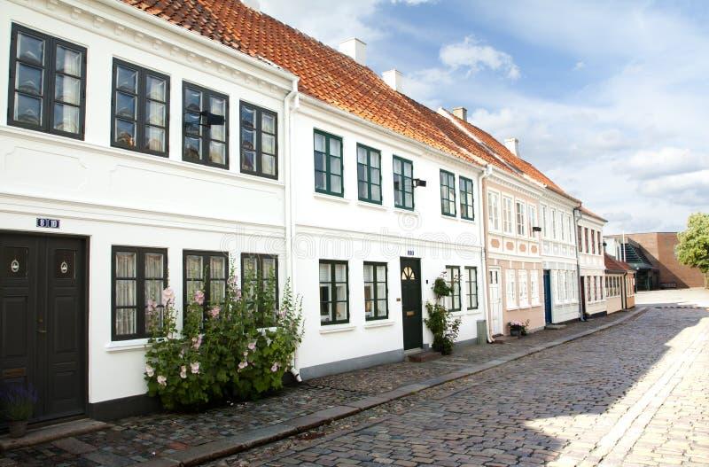 Gammal stad av Odense, Danmark royaltyfri fotografi