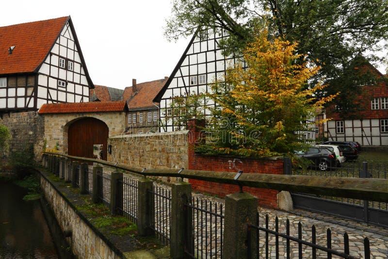 gammal stad av Quedlinburg arkivbilder