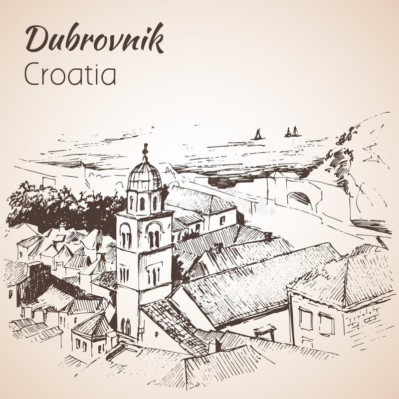 Gammal stad Dubrovnik, Kroatien skissa royaltyfri illustrationer