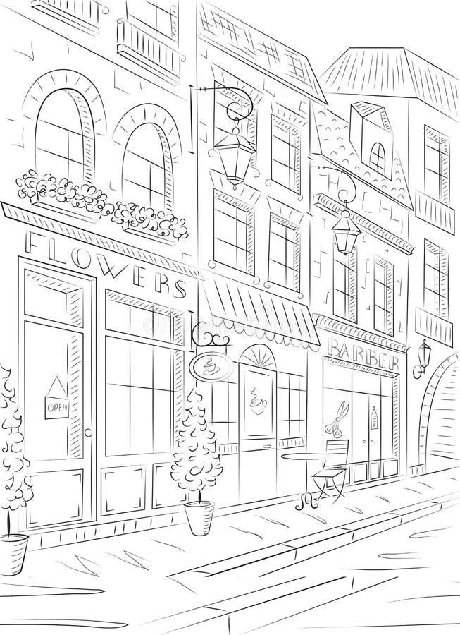 Gammal stad, gata med gamla byggnader, kaféer royaltyfri illustrationer
