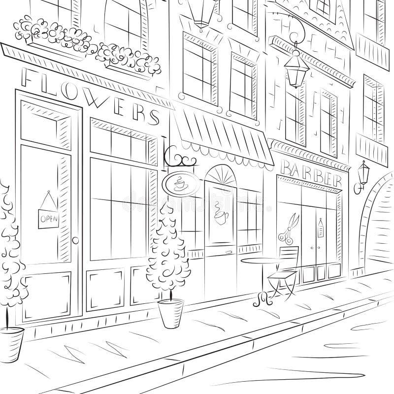 Gammal stad, gata med gamla byggnader, kaféer vektor illustrationer