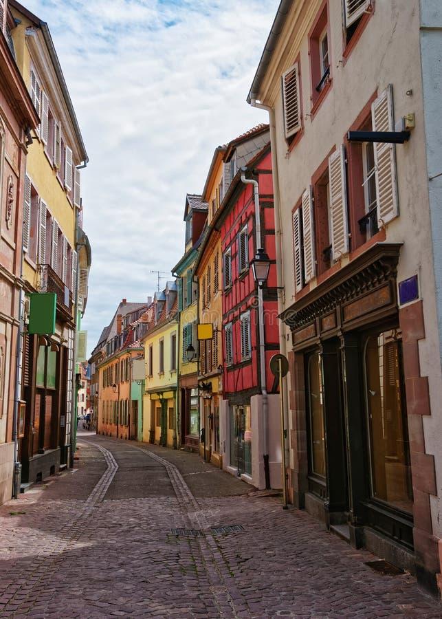 Gammal stad i Colmar på Alsace i Frankrike fotografering för bildbyråer