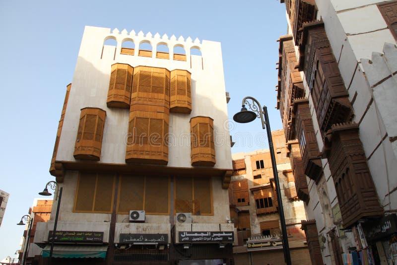 Gammal stad i Jeddah, Saudiarabien som är bekant som historisk Jeddah för ` `, Gamla och arvbyggnader och vägar i Jeddah Saudiara royaltyfri fotografi