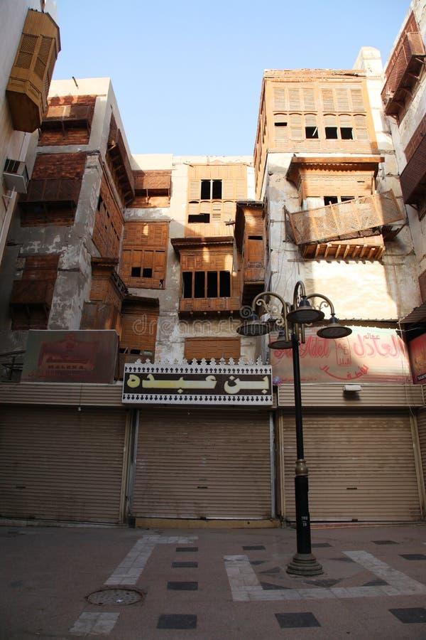 Gammal stad i Jeddah, Saudiarabien som är bekant som historisk Jeddah för ` `, Gamla och arvbyggnader och vägar i Jeddah Saudiara royaltyfri bild