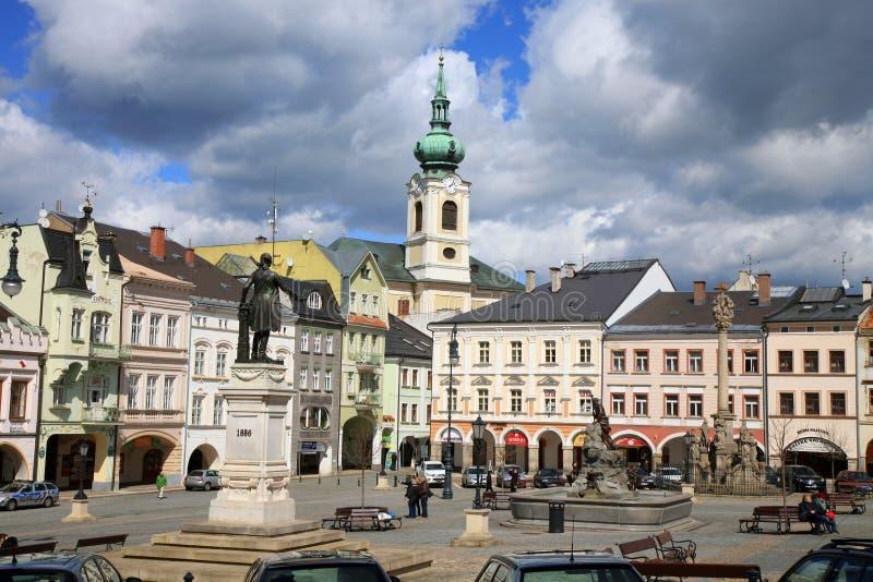 Gammal stad i Turnov, Tjeckien, Czechia fotografering för bildbyråer