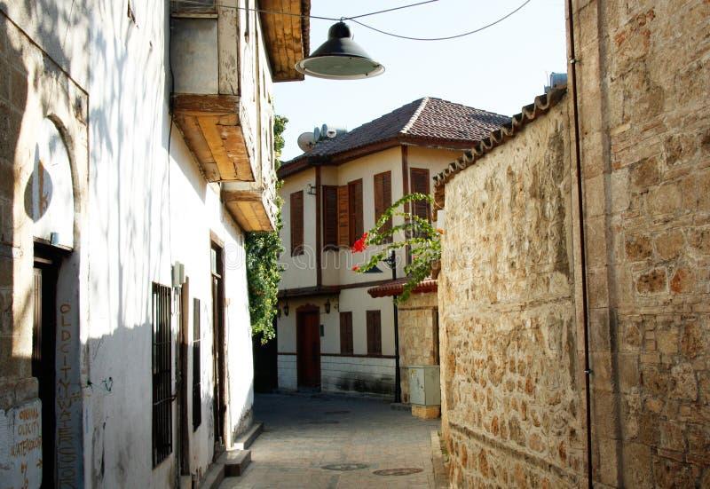 Gammal stad Kaleici i Antalya, Turkiet arkivbilder