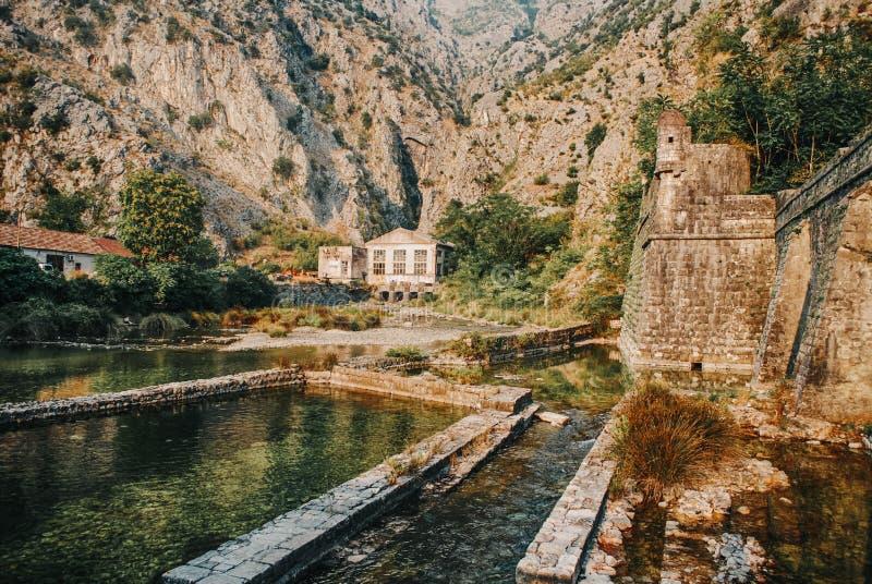 Gammal stad Kotor med befästningar på bergbakgrund royaltyfri foto