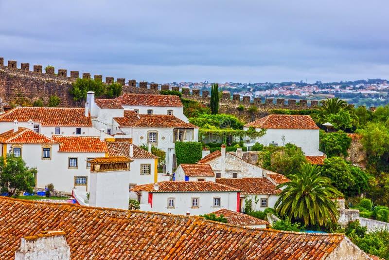 Gammal stad Obidos i Portugal arkivbilder