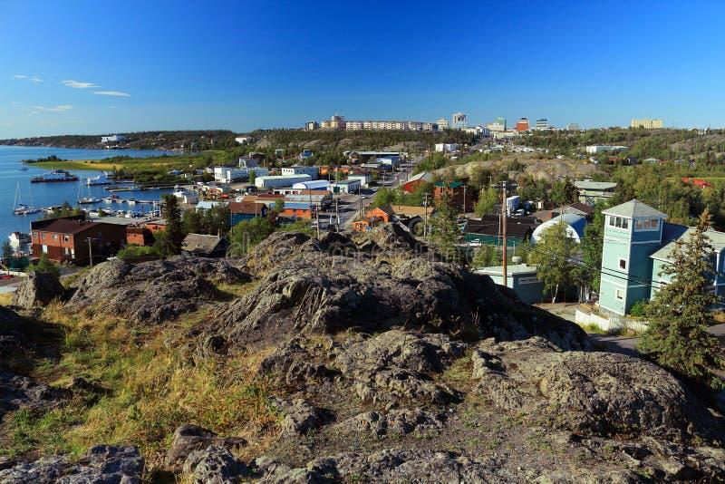 Gammal stad och i stadens centrum Yellowknife från vagga, Northwest Territories royaltyfria bilder