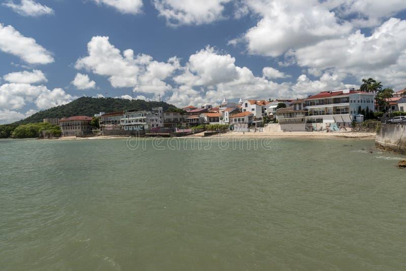 Gammal stad Panama från plazaen de Francia arkivfoto
