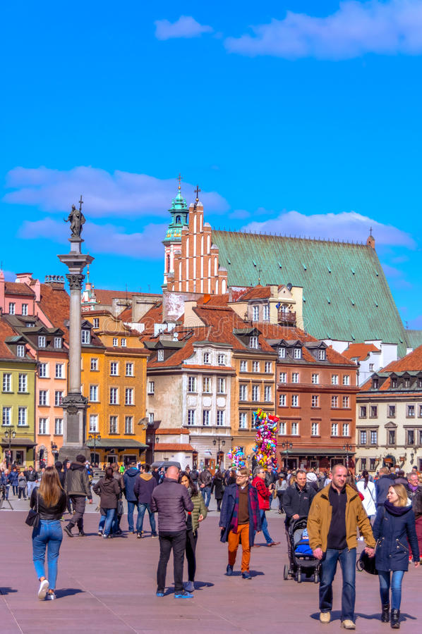 Gammal stad - Warszawa, Polen arkivfoto