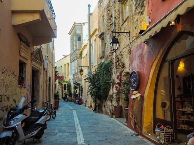 Gammal stadsdel av Retimno, Kreta, Grekland E fotografering för bildbyråer